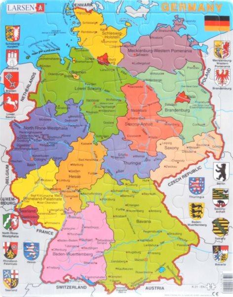 LARSEN Puzzle Německo - politická mapa (anglicky) 48 dílků