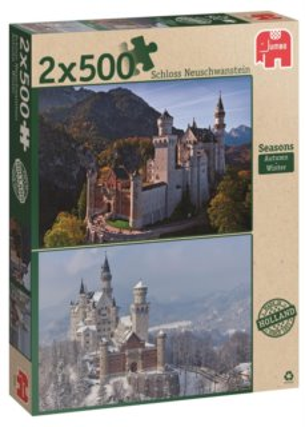 JUMBO puzzle 2 x 500 dílků - Neuschwanstein (podzim a zima)