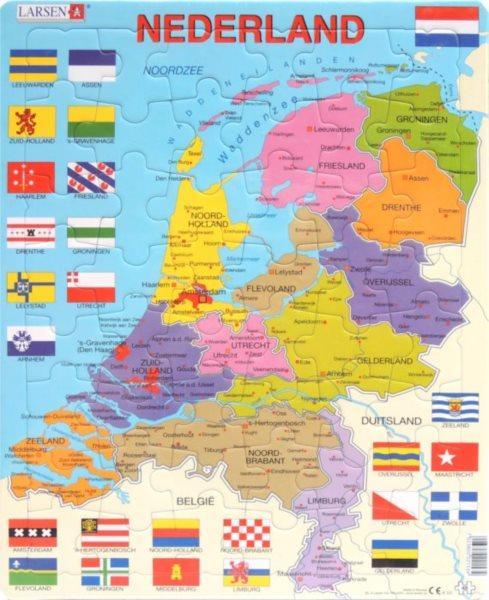 LARSEN Puzzle Nizozemsko - politická mapa 48 dílků