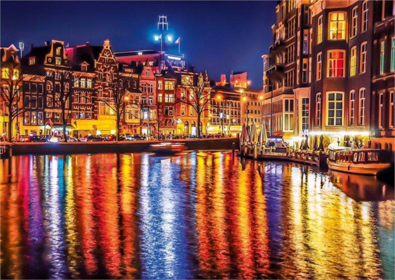CLEMENTONI Puzzle Noční Amsterdam, Nizozemsko 500 dílků