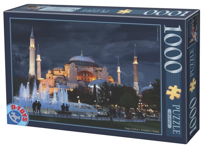 Puzzle D-TOYS 64301 Noční Hagia Sophia, Istanbul 1000 dílků