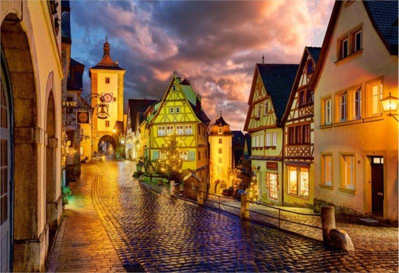 Puzzle CASTORLAND 1000 dílků - Noční Rothenburg