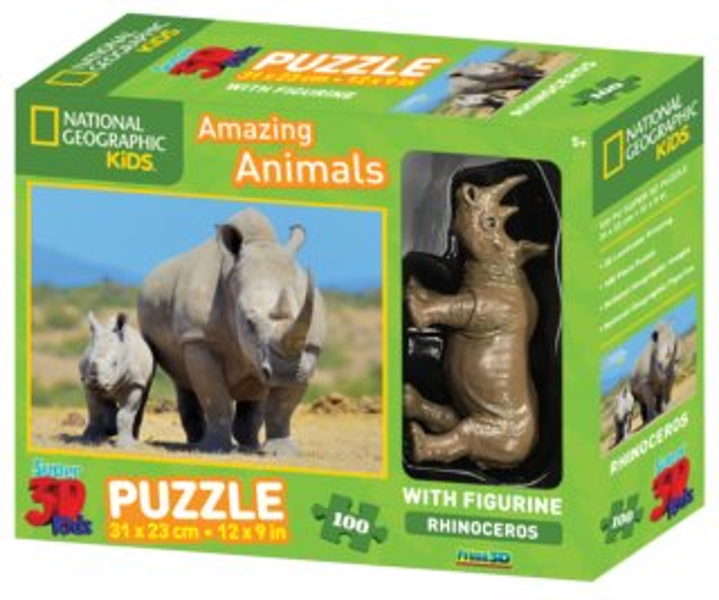 PRIME 3D Puzzle Nosorožec s mládětem 3D 100 dílků + figurka