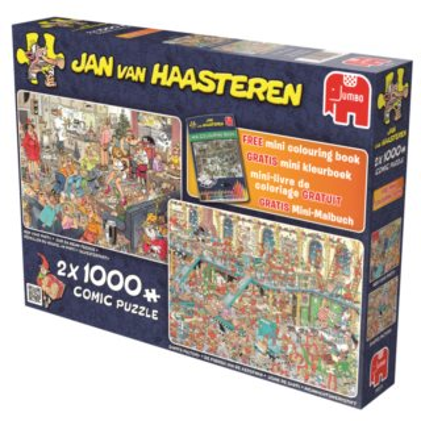 JUMBO Haasteren 19024 Novoroční večírek a Santova dílna - puzzle 2 x 1000 dílků