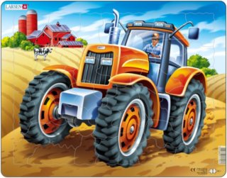 LARSEN Puzzle Oranžový traktor 37 dílků