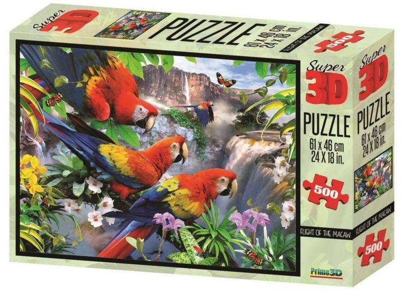PRIME 3D Puzzle Papoušci 3D 500 dílků