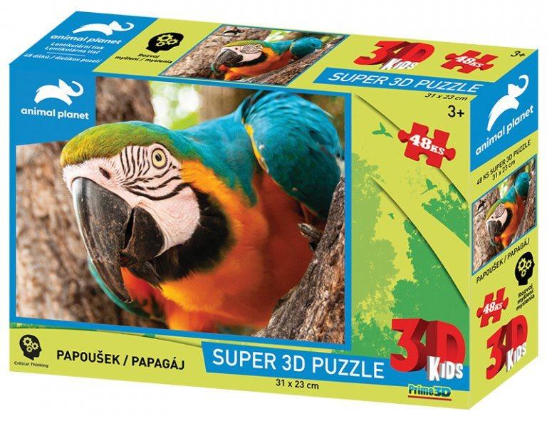 PRIME 3D Puzzle Papoušek 3D 48 dílků
