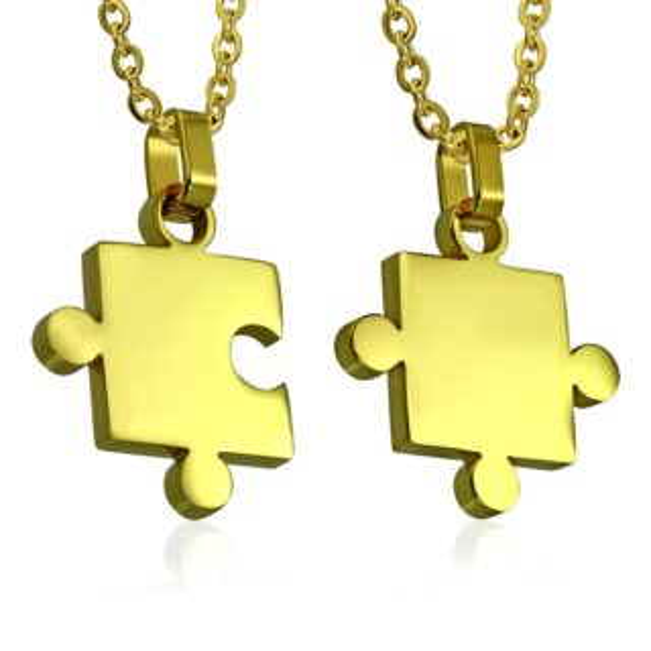 Ocelové partnerské přívěšky Puzzle - pozlacené