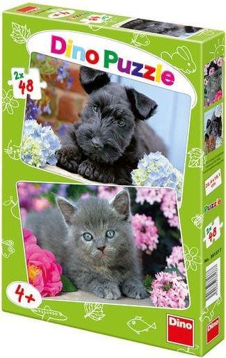 Puzzle DINO - Pejsek s kočičkou na terase 2x48 dílků