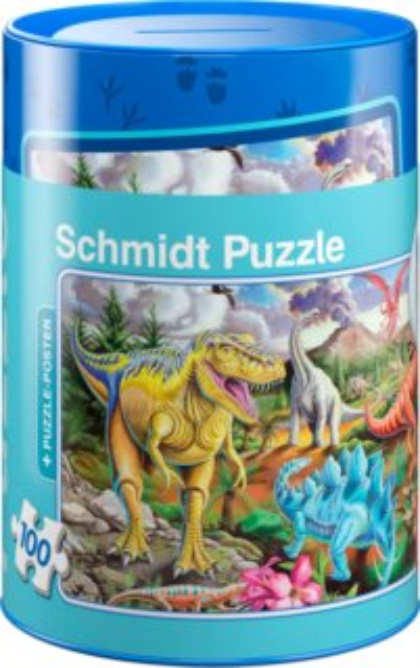 SCHMIDT Puzzle Playmobil Dinosauři 100 dílků v plechové pokladničce