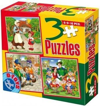 Dětské puzzle 3v1 D-TOYS - Pohádky 7 (6,9,16 dílků)