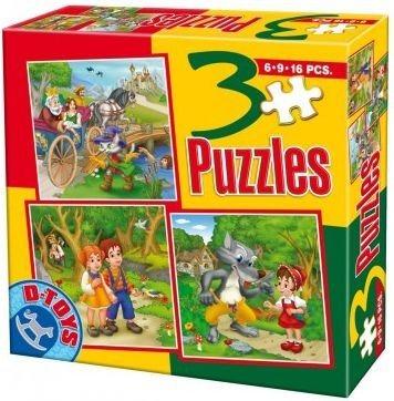 D-TOYS Puzzle Pohádky B 3v1 (6,9,16 dílků)
