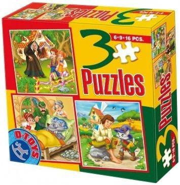 D-TOYS Puzzle Pohádky A 3v1 (6,9,16 dílků)