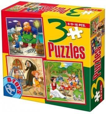 Dětské puzzle 3v1 D-TOYS - Pohádky 8 (6,9,16 dílků)