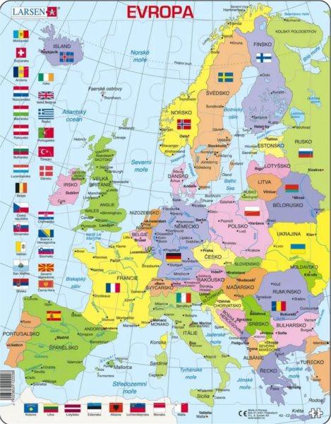 LARSEN Puzzle Politická mapa Evropy 48 dílků