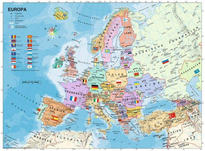 RAVENSBURGER Puzzle Politická mapa Evropy XXL 200 dílků