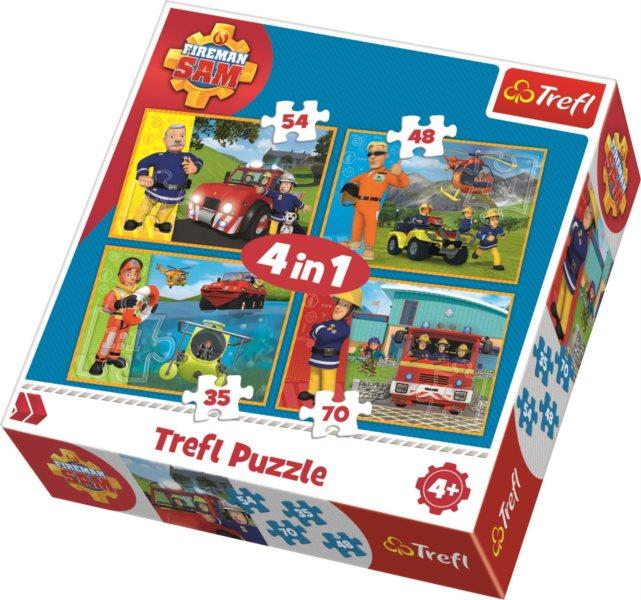 TREFL Puzzle Požárník Sam v akci 4v1 (35,48,54,70 dílků)