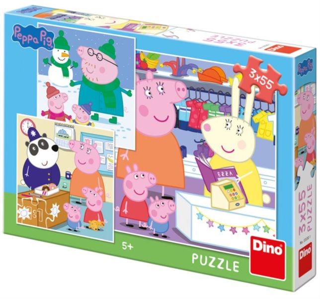 DINO Puzzle Prasátko Peppa 3x55 dílků