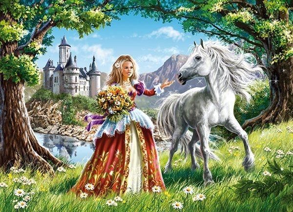 CASTORLAND Puzzle Princezna a kůň 60 dílků