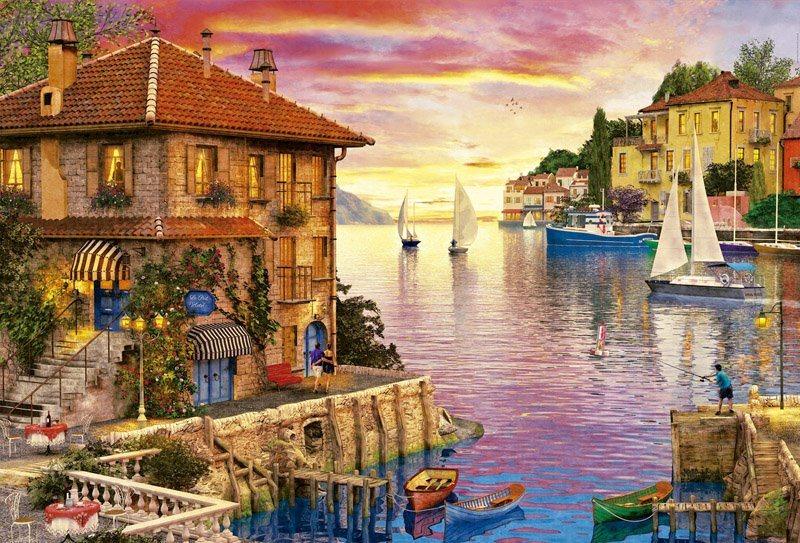 Puzzle EDUCA 17135 Přístav ve Středozemním moři 5000 dílků