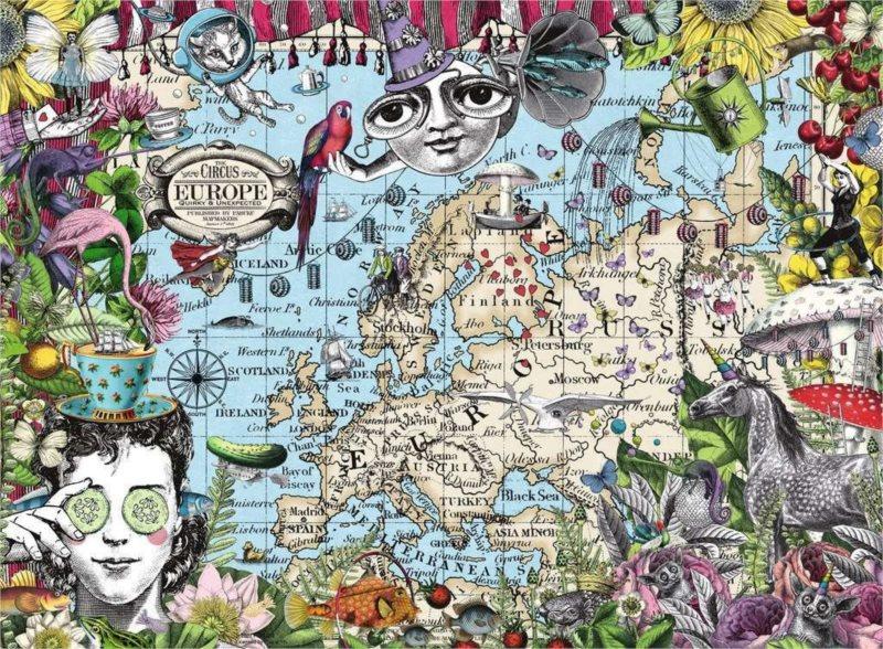 RAVENSBURGER Puzzle Quirky Circus: Mapa Evropy 500 dílků
