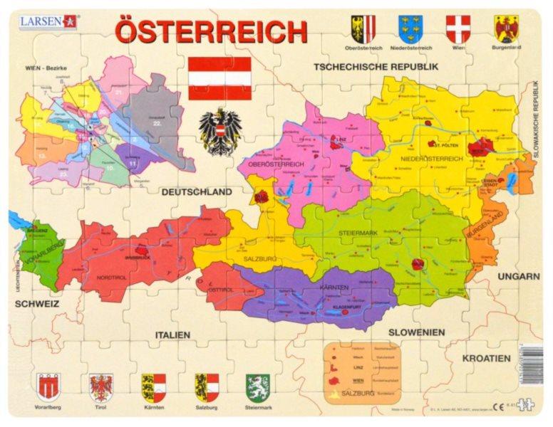 LARSEN Puzzle Rakousko - politická mapa (německy) 70 dílků