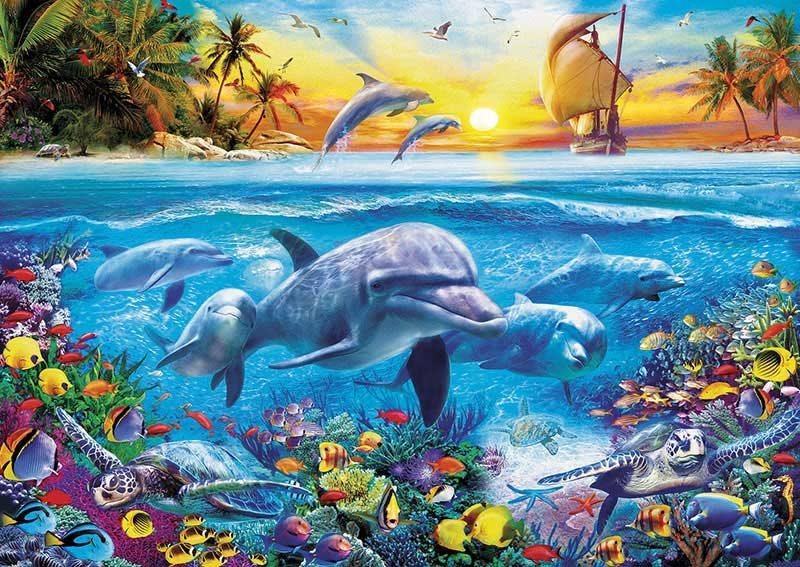 EDUCA Puzzle Rodina delfínů 2000 dílků