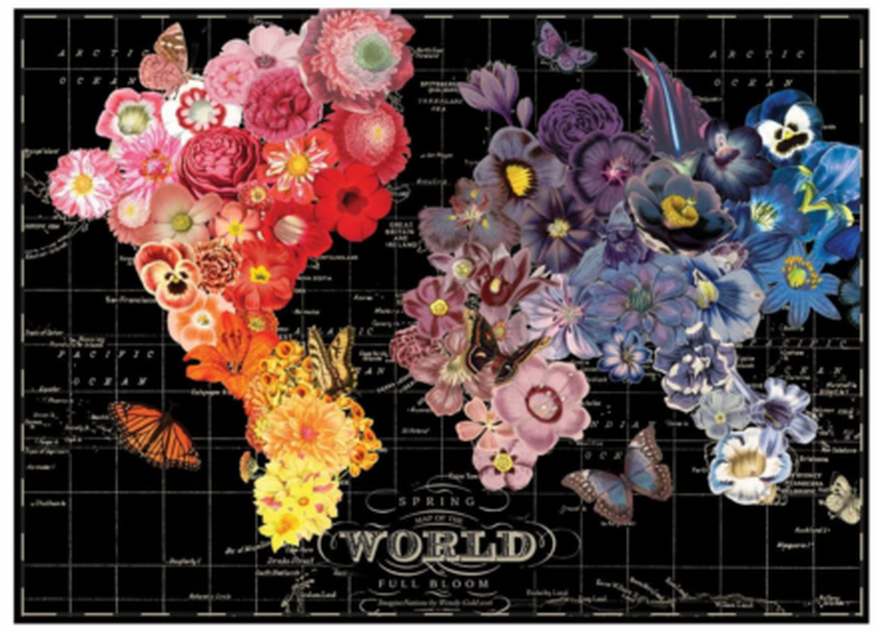 GALISON Puzzle Rozkvetlá mapa světa 1000 dílků