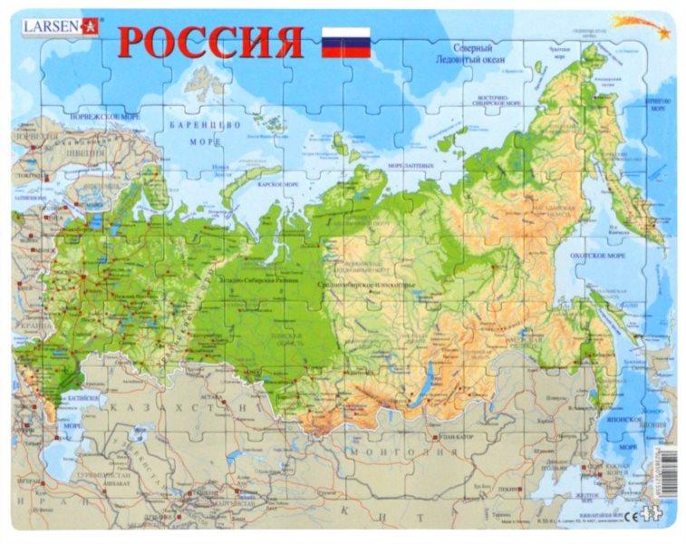 LARSEN Puzzle Rusko - zeměpisná mapa (rusky) 70 dílků