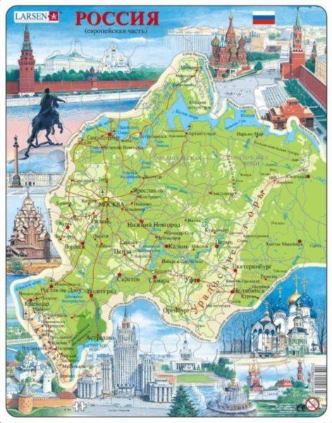 LARSEN Puzzle Rusko - zeměpisná mapa (rusky) 81 dílků