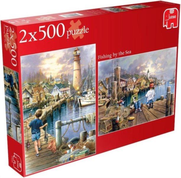 Puzzle JUMBO 2 x 500 dílků - Rybaření u moře