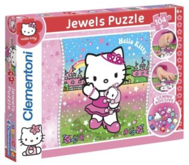CLEMENTONI Puzzle s drahokamy Hello Kitty 104 dílků