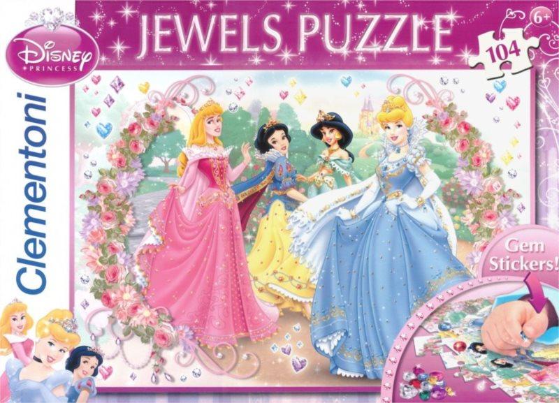 CLEMENTONI Puzzle s drahokamy Princezny v zahradě 104 dílků