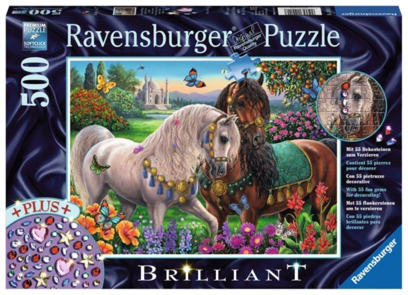 RAVENSBURGER Puzzle s drahokamy Zdobení hřebci 500 dílků