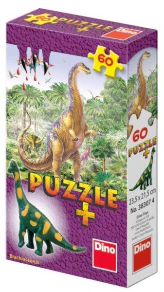 Dětské puzzle DINO 60 dílků - Mini-Puzzle s figurkou dinosaura: Brachiosaurus
