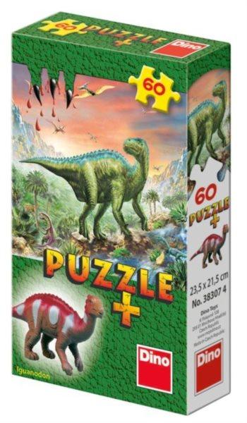 Dětské puzzle DINO 60 dílků - Mini-Puzzle s figurkou dinosaura: Iguanodon