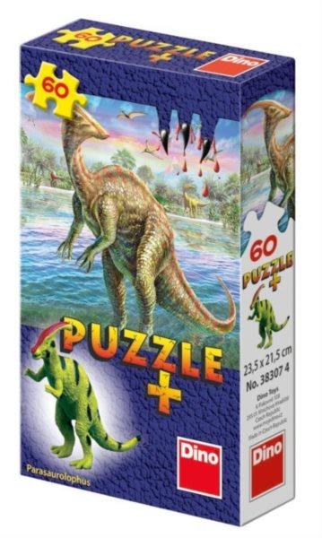 Dětské puzzle DINO 60 dílků - Mini-Puzzle s figurkou dinosaura: Parasaurolophus