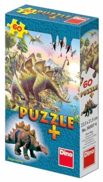 Dětské puzzle DINO 60 dílků - Mini-Puzzle s figurkou dinosaura: Stegosaurus