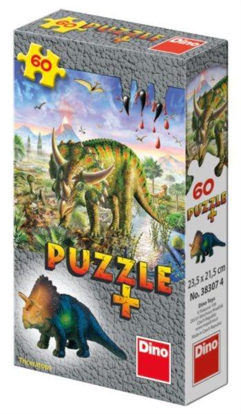 Dětské puzzle DINO 60 dílků - Mini-Puzzle s figurkou dinosaura: Triceratops