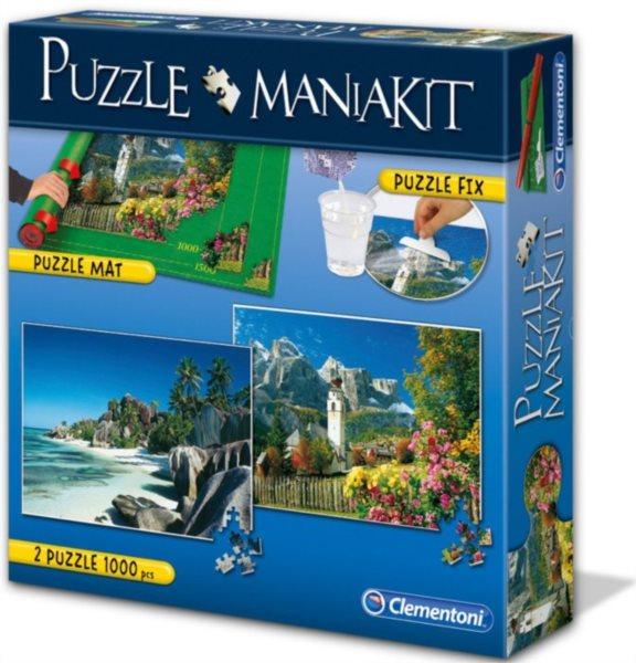 Puzzle CLEMENTONI - Puzzle sada Mania Kit II.(podložka, lepidlo, 2x1000 dílků)