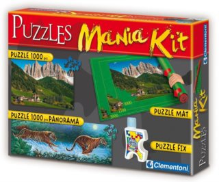 Puzzle CLEMENTONI - Puzzle sada Mania Kit III. (podložka, lepidlo, 2x1000 dílků)