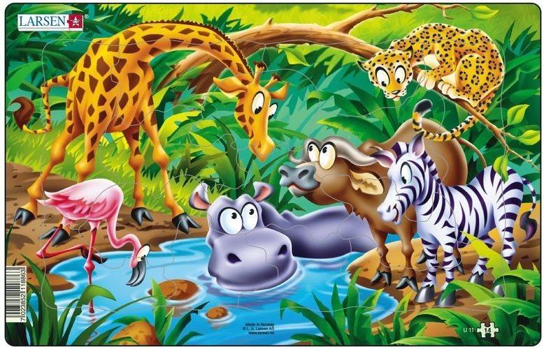 Dětské puzzle LARSEN 14 dílků - U napajedla