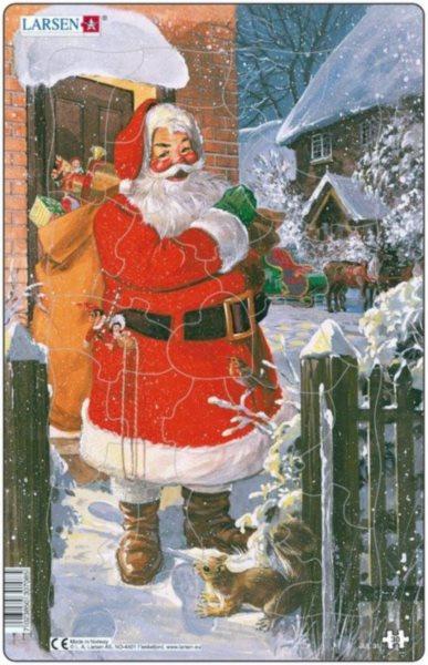 Dětské puzzle LARSEN 30 dílků - Santa ve sněhu