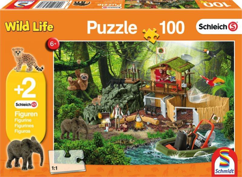 SCHMIDT Puzzle Schleich Záchranná stanice 100 dílků + figurky Schleich
