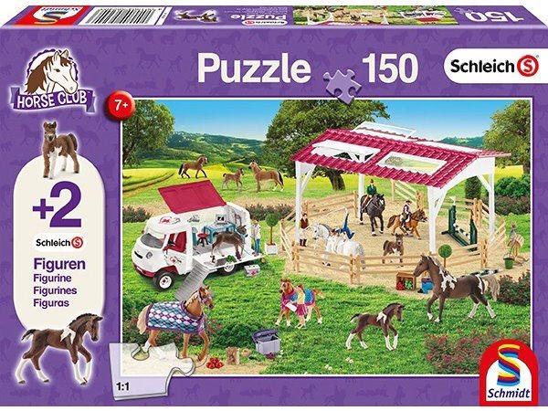 SCHMIDT Puzzle Schleich Jezdecká škola 150 dílků + figurky Schleich