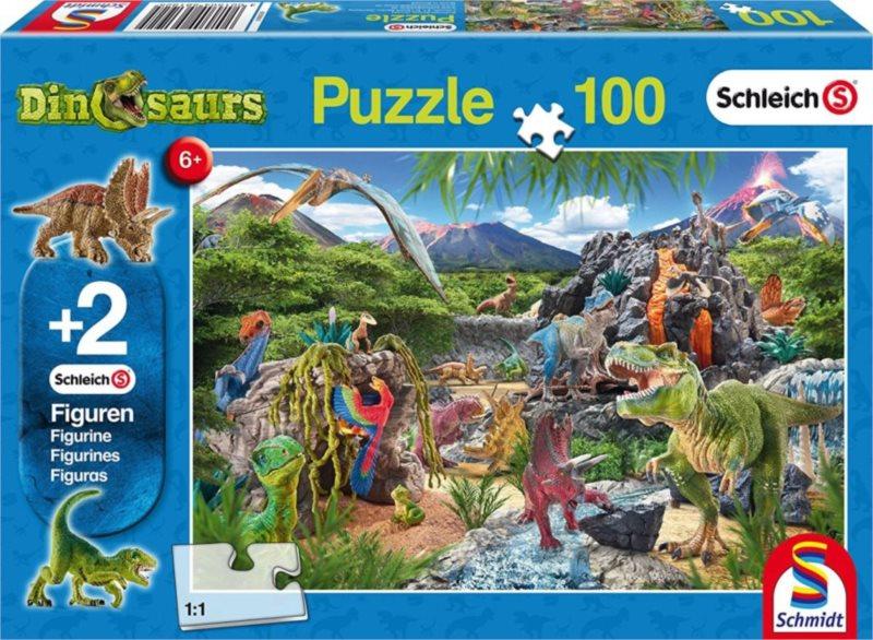 SCHMIDT Puzzle Schleich Království dinosaurů 100 dílků + figurky Schleich