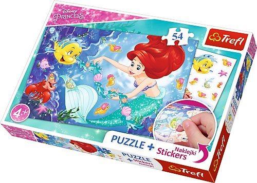 TREFL Puzzle se samolepkami Disney princezny: Ariel 54 dílků