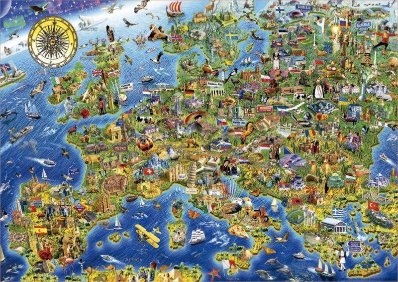 EDUCA Puzzle Šílená mapa Evropy 500 dílků
