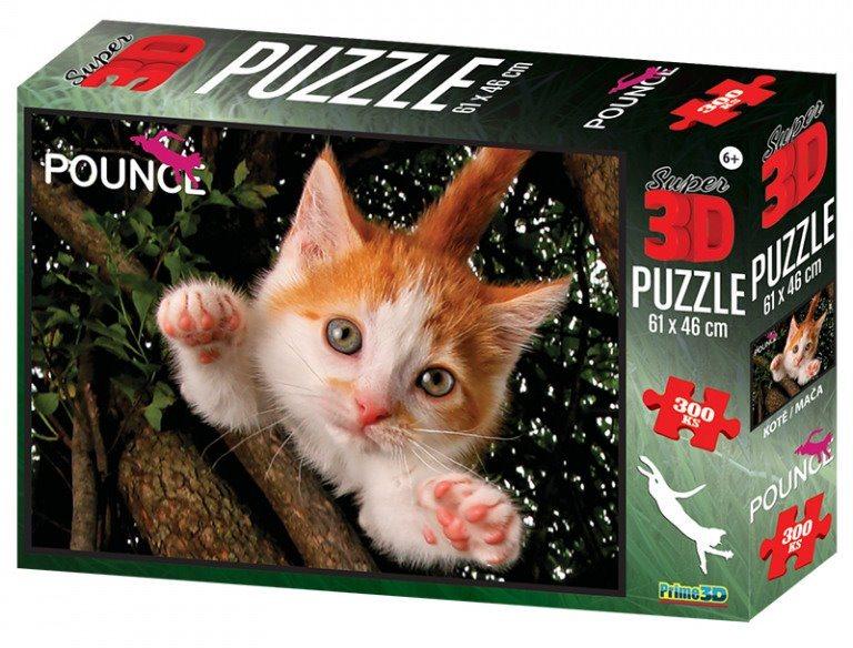 PRIME 3D Puzzle Skákající kočka 3D 300 dílků