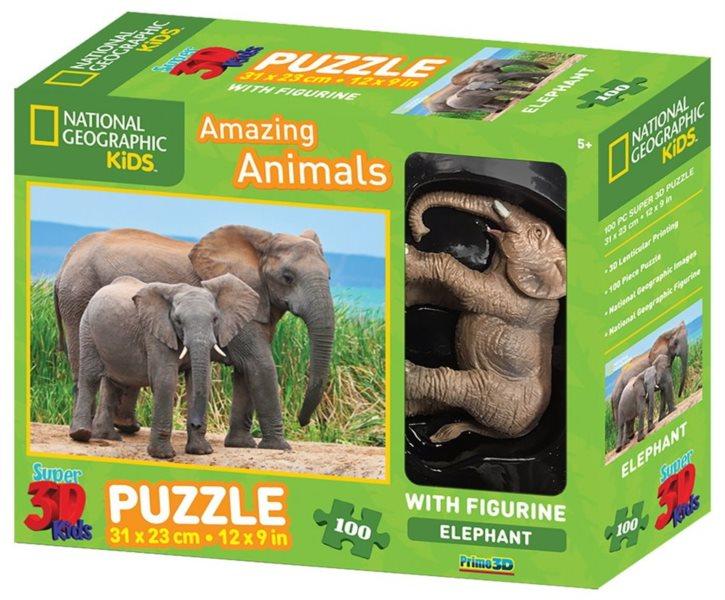 PRIME 3D Puzzle Slon s mládětem 3D 100 dílků + figurka